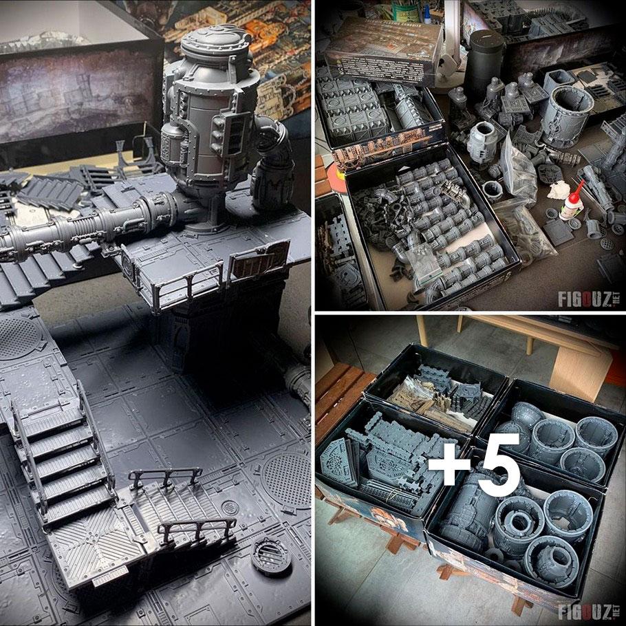 * Novo 40K Necromunda Zona mortalis setor mechanicus Scenic 32mm Bases E Pacote x4